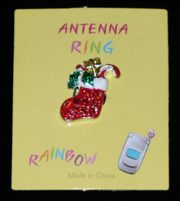 CHRISTMAS STOCKING Cell Phone Antenna Ring