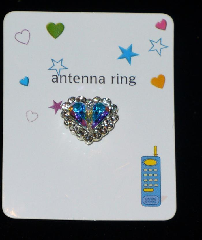 CLEAR HEART Cell Phone Antenna Ring