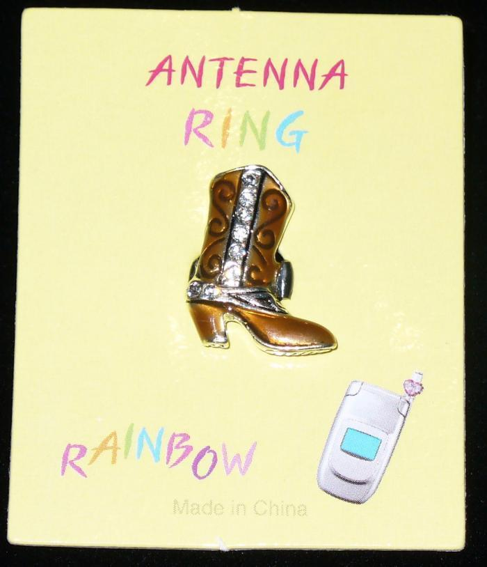 COWBOY BOOT Cell Phone Antenna Ring