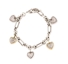 David Yurman Sterling & 18K Gold Cable Figaro 5 Heart Charm Toggle Brace... - $1,188.00