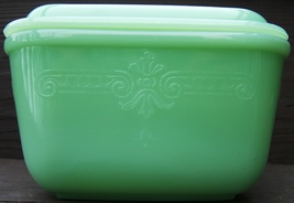 Vintage Ah Fire King Philbe Pattern Jadeite Small Refrigerator Dish  With Cover - $228.99