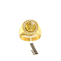 14k Yellow Gold Ring with Oval Quartz  and Diamonds  - $3,675.00