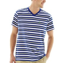 U.S. Polo Assn. Blue Striped Short-Sleeve V-Neck Tee Size L Msrp $34.00 - $14.99