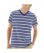 U.S. Polo Assn. Blue Striped Short-Sleeve V-Neck Tee Size L Msrp $34.00 - $14.99
