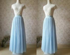 LIGHT BLUE Wedding Bridesmaid Tulle Skirt High Waist Floor Length Tulle Skirt image 4