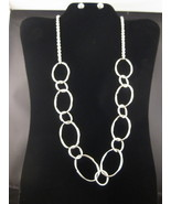 "Silvertone 26 1/2"" Circle Necklace And Drop Ear... - $14.00"