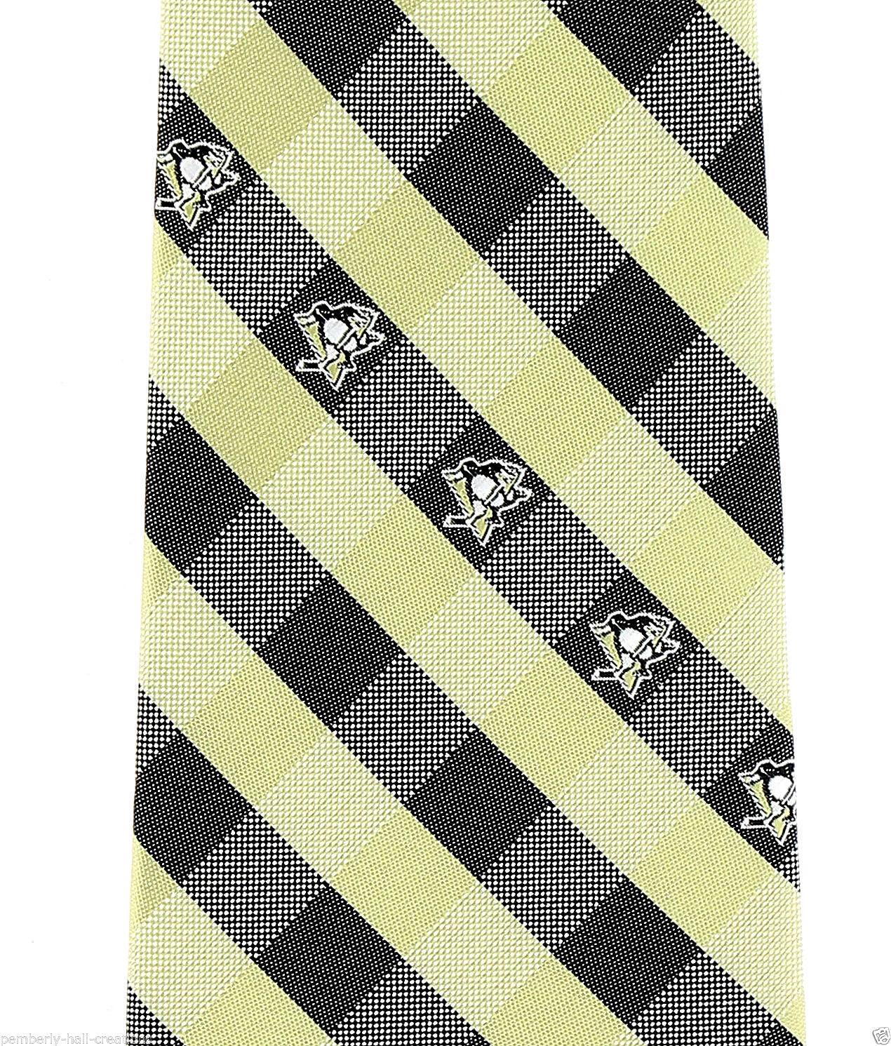 Pittsburgh Penguins Men's Necktie Licensed NHL Ice Hockey Checks Black Neck Tie image 2