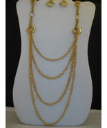 Gold tone Four Strand Fashion Necklace And Earr... - $22.00