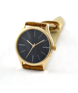 Rose Gold Minimalist Watches with Long Stripe Black Face Free Shipping W... - $36.00