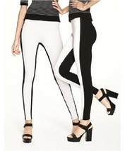 HUE Leggings Sz XS Black White Colorblock Illusion Ponte Legging Casual ... - $379,04 MXN