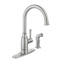 MOEN Noell Single-Handle Kitchen Faucet w Side Sprayer in Spot Resist Stainless - $129.00