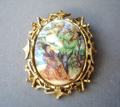 Vintage Oriental Brooch Signed ART Goldtone - $64.95