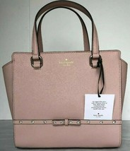 Neu Kate Spade Klein Hadlee Laurel Weg Jeweled Saffiano Leder Tote Warm Velin - $119.19