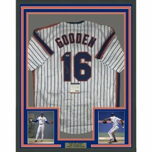 FRAMED Autographed/Signed DWIGHT DOC GOODEN 33x42 NY Pinstripe Jersey PS... - $374.99