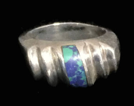 Azurite Men Sterling Silver Band Vintage Ring Size 8.25 from Mexico Heavy  - $68.00