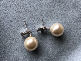 Authentic Chanel Classic Crystal CC Pearl Silver Earrings  image 7