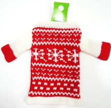 HOME ELEMENTS - WINE - BOTTLE - HOLIDAY - KNIT - RED - WHITE - SWEATER -... - £2.75 GBP