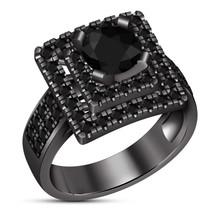 New Year Offer Black Simulated Diamond Black Gold Finish Womens Engageme... - $82.99