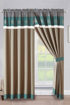 4P Penny Floral Leaves Embroidery Stripe Curtain Set Teal Green Beige Gray White - $40.89