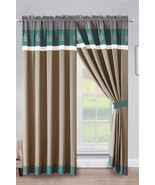 4P Penny Floral Leaves Embroidery Stripe Curtain Set Teal Green Beige Gr... - $40.89