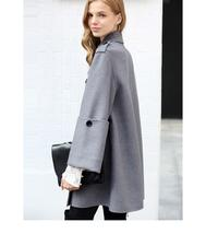 Women English Vintage Winter Solid Double Breasted Cloak 100% Wool Trench Coat image 3