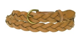 Fossil Skinny Braided Leather Jean Belt Gold Buckle, Tan Brown - $19.00