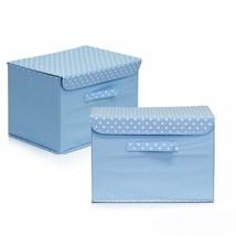 2 Pc Blue Decorative Storage Organizer with Lid Non-woven Box Cube Folda... - £25.96 GBP