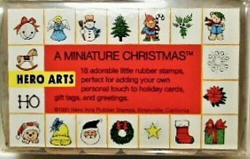 Primary image for Hero Arts A Miniature Christmas Stamp Set, Rubber Mounted on Wood