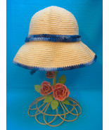 Handmade Crochet Fun Sun Hat with Peek-a-Boo Brown Dog - $27.00