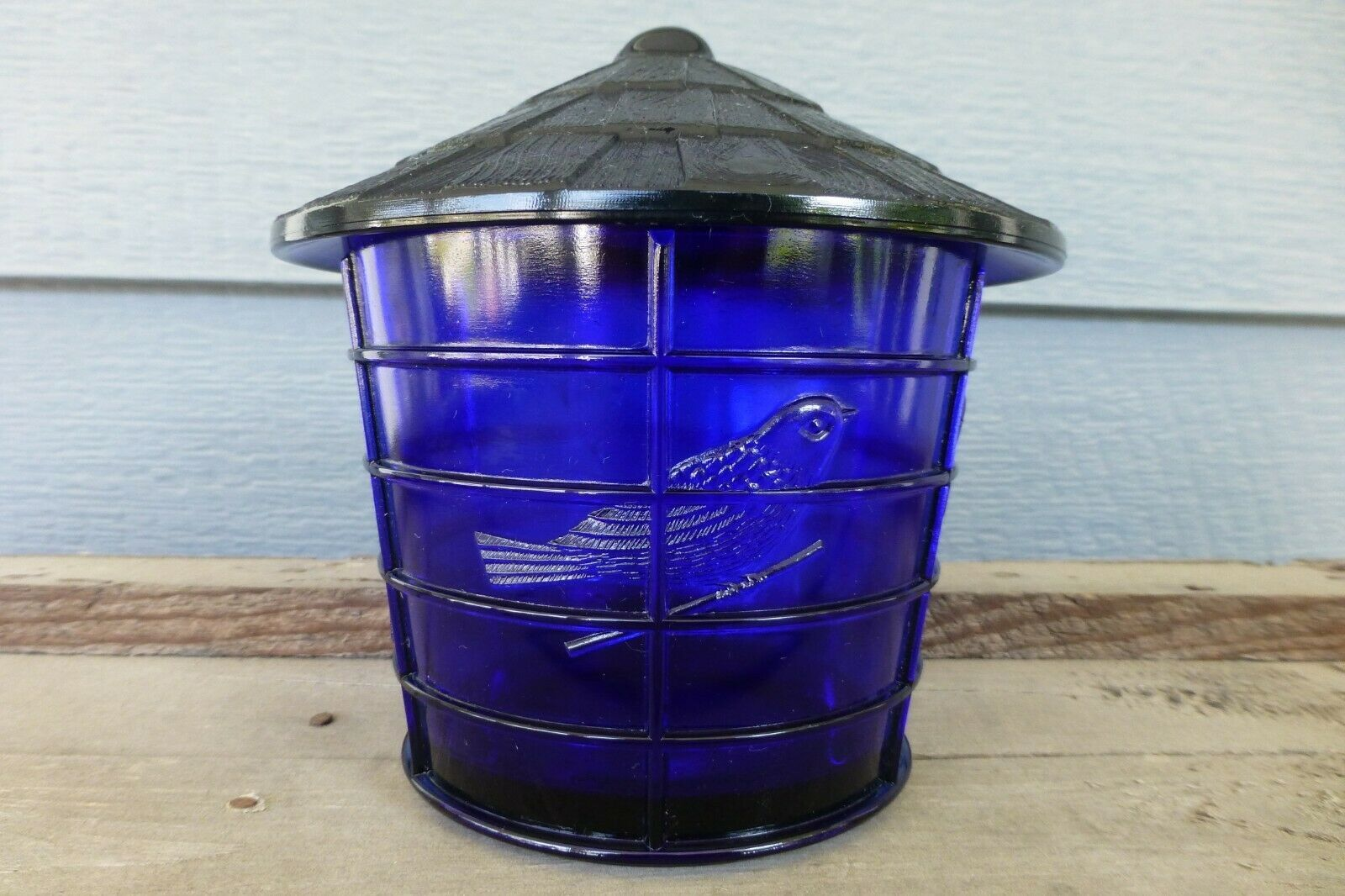 NOS Vintage IMPERIAL COBALT BLUE Glass BIRD CAGE Covered JAR Canister SUMMIT