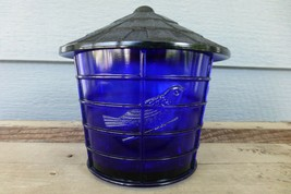 NOS Vintage IMPERIAL COBALT BLUE Glass BIRD CAGE Covered JAR Canister SU... - $37.77