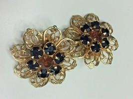 Vintage Napier Gold Tone Brown Black Rhinestone Flower Clip On Earrings - $19.79