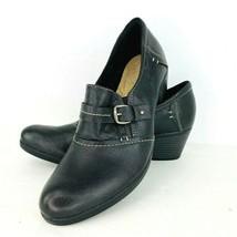 Michel M Durango Shoes 11 M Black Leather Oxford High Heel Buckle  Slip On - $44.54