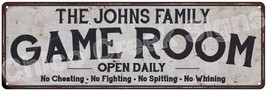 THE JOHNS FAMILY Game Room Country Look Metal Sign 6x18 Chic Décor A6180... - $29.95+