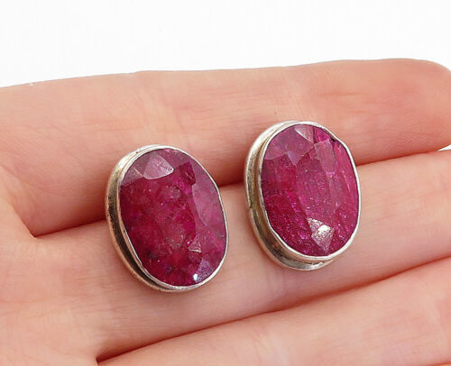 Primary image for 925 Sterling Silver - Vintage Faceted Ruby Oval Button Drop Earrings - E9887