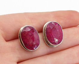 925 Sterling Silver - Vintage Faceted Ruby Oval Button Drop Earrings - E... - $33.83