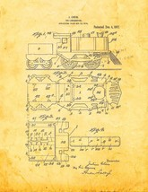 Toy Locomotive Patent Print - Golden Look - $7.95+
