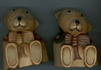 TWO CARVED WOODEN BEARS