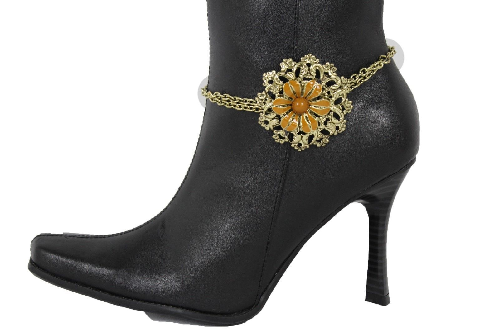 Women Western Boot Anklet Gold Chain Metal Western Shoe Brown Flower Bling Charm - $15.67