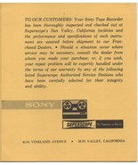 Sony Superscope Authorized Serrvice Stations for Sony Tape Recorders. - $1.03