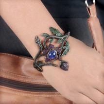 Flower Leaf Bangle Bracelet Diamond 6.98Ct Tanzanite Adjustable 14K Yell... - $889.02