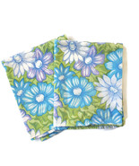 Vintage Pillowcases 70s Flower Power Daisies Blue Purple Green Pair - $28.66