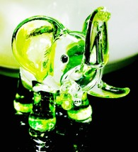 Glass Green Tiny Elephant Figurines Blown Vintage Hand Painted Art Trunk... - $8.72