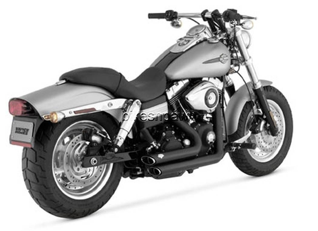 New Vance & Hines Shortshots Staggered Black 2006-2011 FXD Dyna Harley