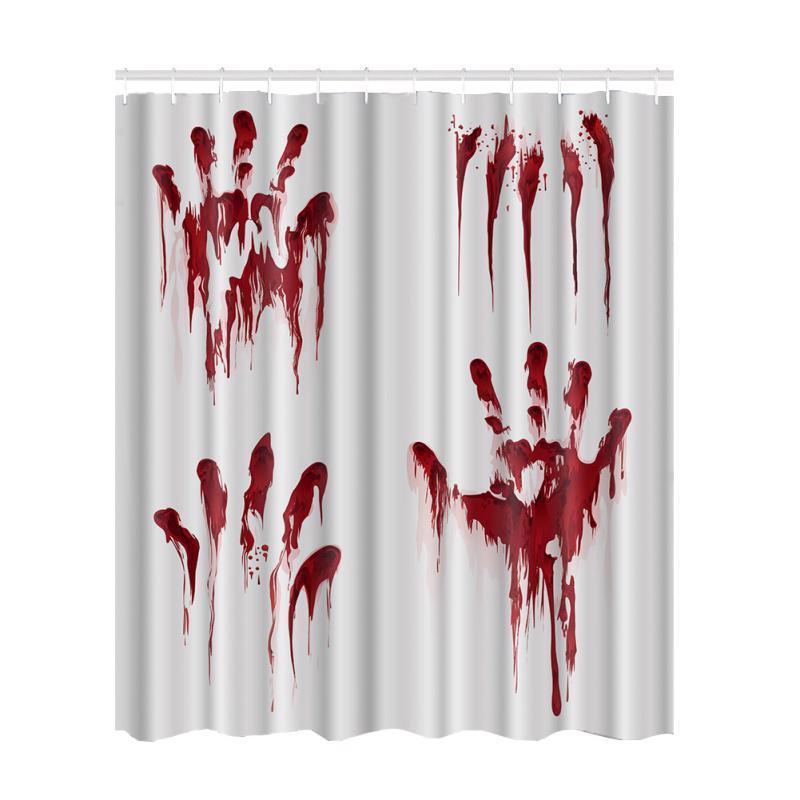 Halloween Decor Waterproof Shower Curtain Bloody Print Polyester Fashion Fabric