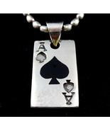 Handcrafted Solid 925 Sterling Silver ACE OF SPADES Pendant w/Black Onyx... - $41.53