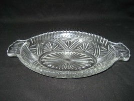 Vintage Clear Pressed Glass Oval Relish Tray Dish Bowl with Handles - $9.46