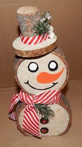 "Homemade Pine Wood Rounds Frosty The Snowman 13"" Tall x 6"" Wide x 2' Thi... - $19.49"