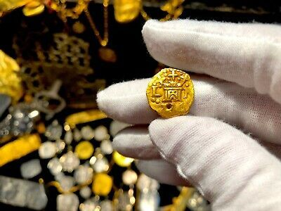PERU 1 ESCUDO 1736 PENDANT NECKLACE PIRATE GOLD COINS JEWELRY TREASURE DOUBLOON