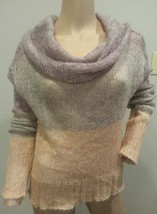 Knitted Knotted Anthropologie Sheer Cowl Neck Colorblock Mohair Blend Sweater M - $56.99